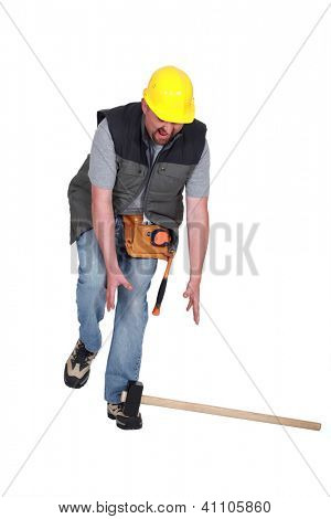 Construction worker in an accident