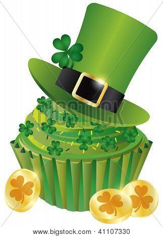 St Patricks Day Leprechaun Hat Cupcake Illustration