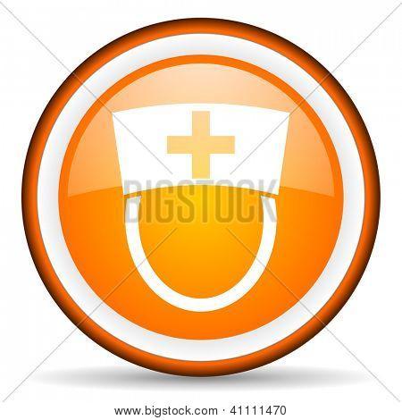 orange circle glossy web icon with pictogram on white background