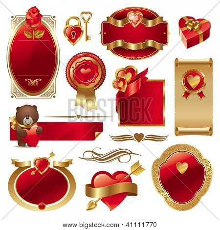 Valentines set with ornate golden luxury frames & hearts