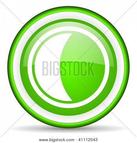 green circle glossy web icon with pictogram on white background