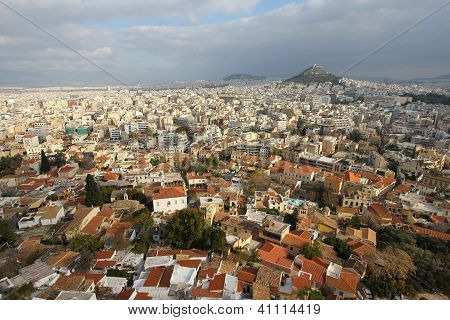 Aerial view of Athens from Acropolis