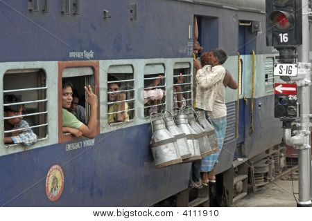 Crowded Train In Old Delhi, India