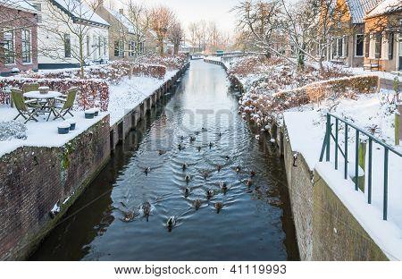 Dutch Village Canal In Winter