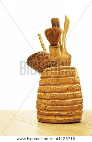 Wooden instruments for tea ceremony