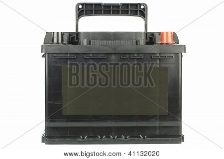 Car battery in black on a white background