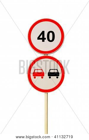 Two Round Road Signes Isolated