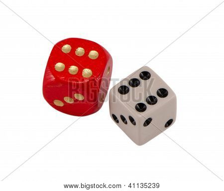 Red White Gamble Dice Six 6 Isolated On White