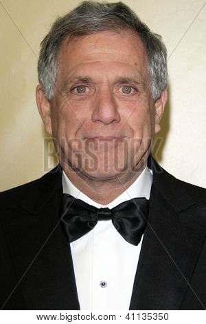 LOS ANGELES - JAN 13:  Les Moonves arrives at the 2013 Weinstein Post Golden Globe Party at Beverly Hilton Hotel on January 13, 2013 in Beverly Hills, CA..