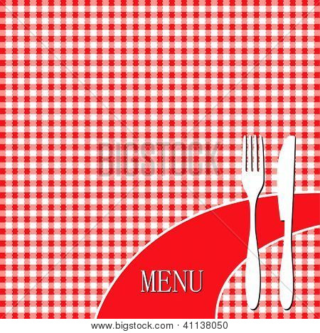 Red picnic cloth - menu card design
