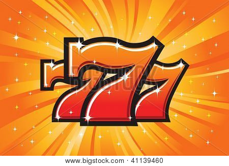 Triple Lucky Sevens burst vector illustration