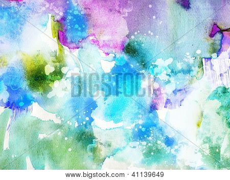 Vivid abstract ink painting on grunge paper texture