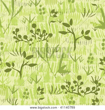 Paint textured green plants seamless pattern background