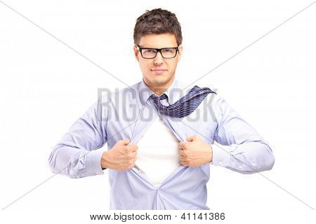 Young handsome man tearing off his shirt, isolated on white background