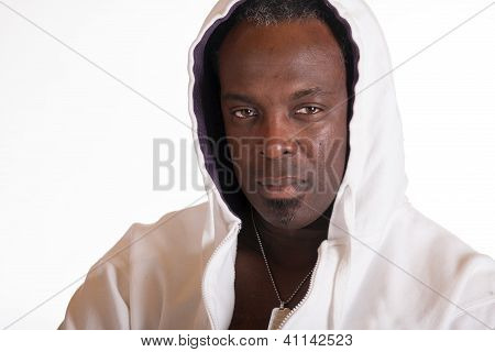African American In Sweat Suit Jacket With Hood