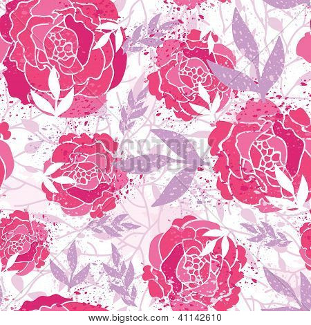 Magical painted roses seamless pattern background