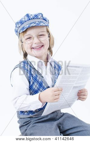 Cute Boy Reding Newspaper