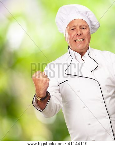 Portrait Of Angry Chef, Outdoor