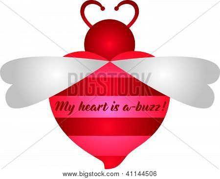 My heart is a-buzz, red and pink