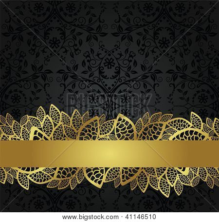 Seamless black wallpaper and golden lace banner