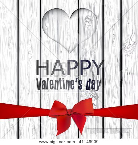 Vector hole in heart shape on wooden texture.  Happy Valentine's Day. Vector background
