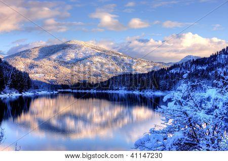 Snowy Mountain Landscape.