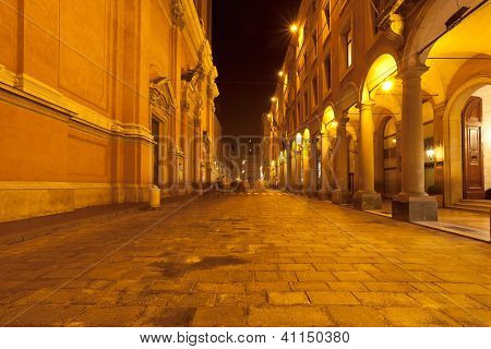 Via Altabella In Bologna, Italy At Night