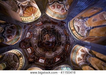 Painted Ceiling In Basilica San Vitale In Ravenna