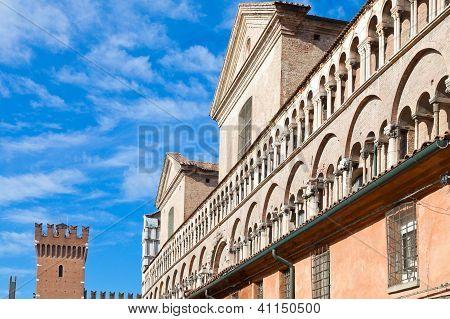 Fronton Of Ferrara Duomo From Piazza Trento Trieste