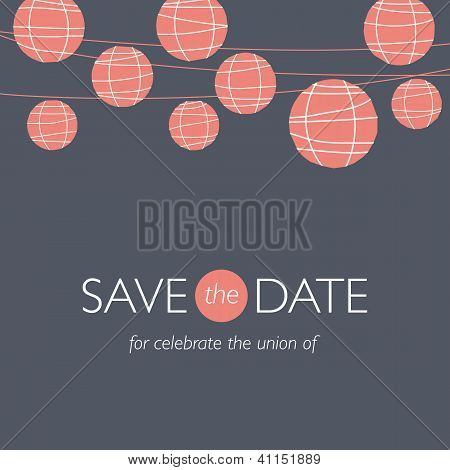 wedding invitation, balloons paper lamps