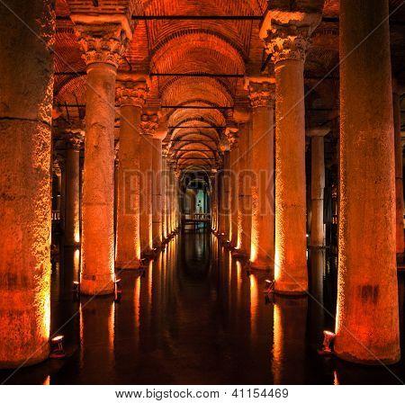 The Underground Basilica Cistern in Istanbul Turkey.