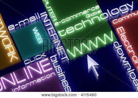 Internet Neon Concept. 3D