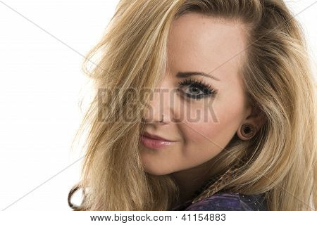 Beautiful blonde woman on white background