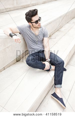 Attractive Young Male Fashion Model Dressed Casual - Outdoor