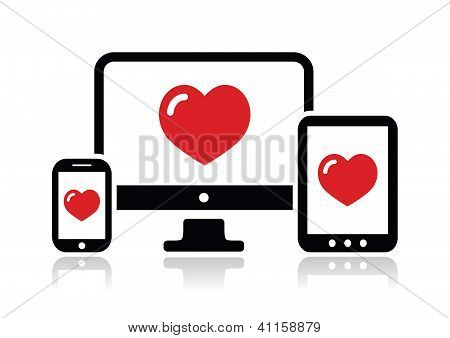 Responsive design for web - computer screen, smartphone, tablet icon