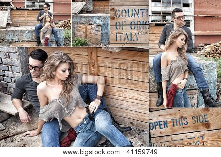 Sexy Couple Wearing Jeans And Boots Posing Dramatic Collage