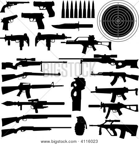 Silhouettes Of Weapons Guns Aims Bullets Granate And Knives In Very High Detail