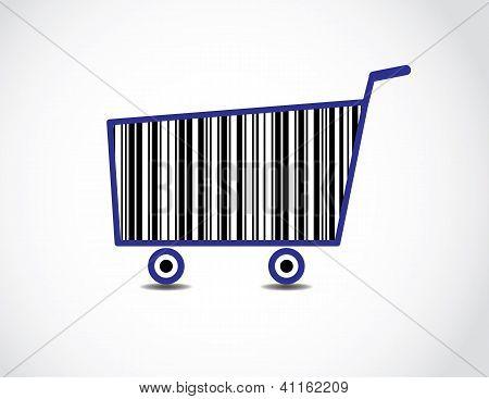 Bar Code Shopping Cart Illustration