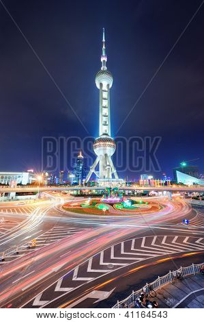 SHANGHAI, CHINA - MAY 27: Oriental Pearl Tower over river on May 27, 2012 in Shanghai, China. The tower was the tallest structure in China excluding Taiwan from 1994-2007 and the landmark of Shanghai