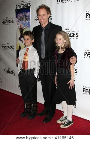 LOS ANGELES - JAN 15:  son Djano, Raphael Sbarge, daughter Gracie arrives at the opening night of 'Peter Pan' at Pantages Theater on January 15, 2013 in Los Angeles, CA