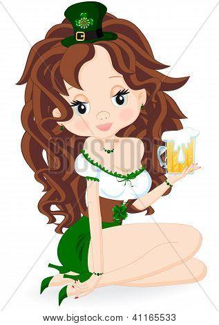 Brunette Girl With Beer