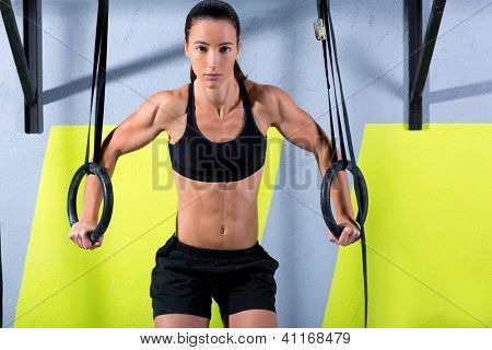 dip ring woman workout at gym dipping exercise