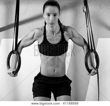 dip ring woman workout at gym dipping exercise