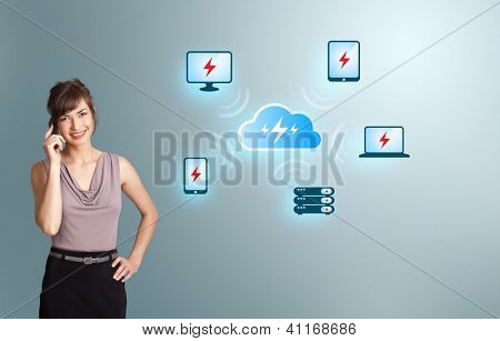 Beautiful young woman making phone call, with cloud computing network