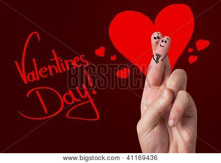 Painted finger smiley, valentine's day theme
