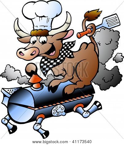 Hand-drawn Vector Illustration Of An Chef  Cow Riding A Bbq Barrel