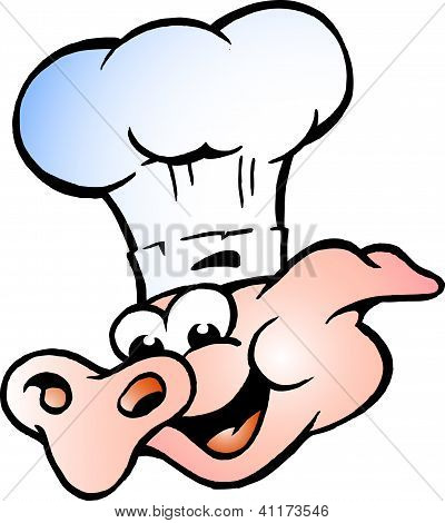 Hand-drawn Vector Illustration Of An Chef Pig Head