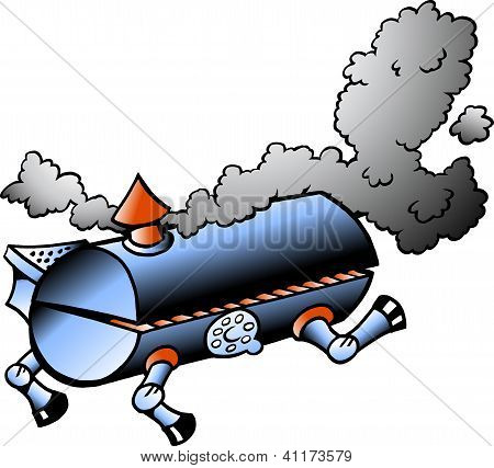 Hand-drawn Vector Illustration Of An Running Bbq Barrel