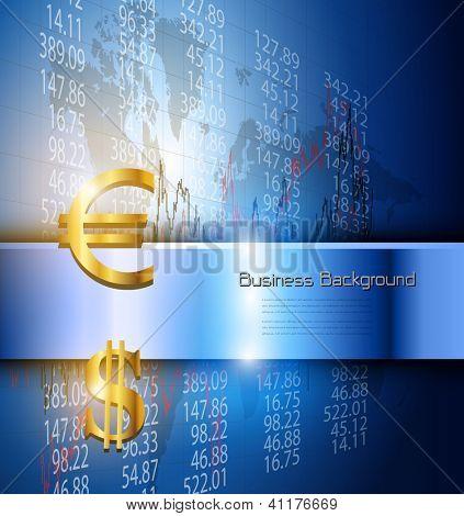 Business background 3d blue, vector illustration.