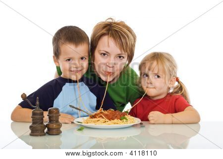 Smiley Family Eating Pasta